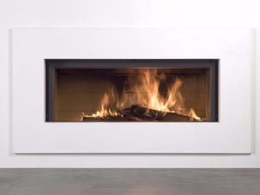 Wood-burning built-in wall-mounted glass and steel fireplace STÛV 21-135