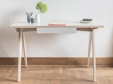 Plywood writing desk with drawers ST CALIPERS GREY
