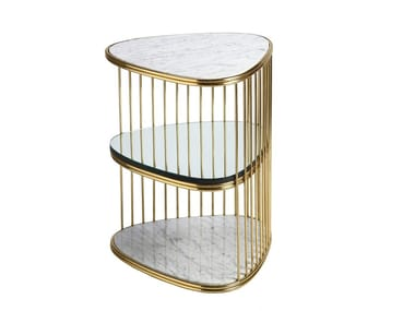 Marble side table with storage space STACK