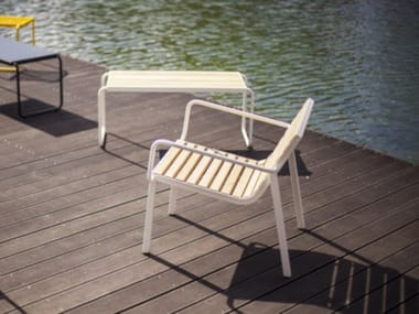 Steel and wood outdoor chair STACK | Outdoor chair