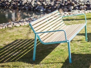 Steel and wood Bench with back STACK | Bench with back