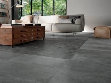 Pavimento in gres porcellanato effetto cemento STAGE DARK