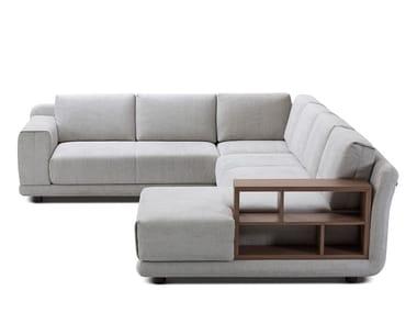 Canapé d'angle en tissu avec porte-revues intégré STAGE