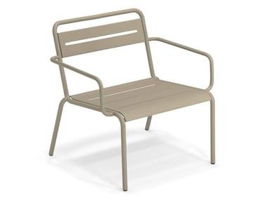 Steel garden armchair with armrests STAR | Garden armchair