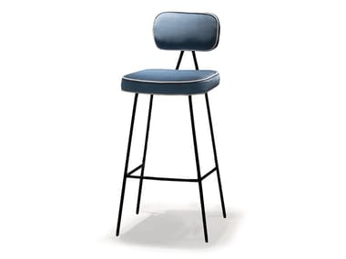 High fabric stool with back STATE | Stool with back