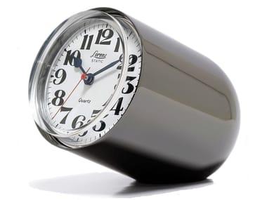 Glossy steel table clock STATIC | Glossy steel clock