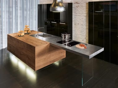 Steel and wood fitted kitchen with island 36E8 STEEL PLUS | Kitchen with island