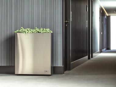 Portavaso alto rettangolare in acciaio inox con irrigazione automatica STEEL | Portavaso