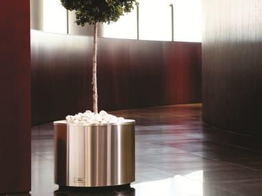 Portavaso basso rotondo in acciaio inox con irrigazione automatica STEEL | Portavaso rotondo