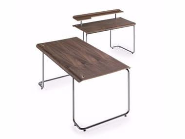 Rectangular steel and wood writing desk STENO