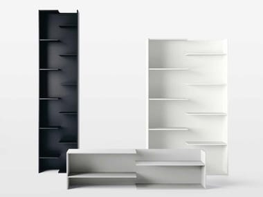 Open lacquered engineered wood bookcase STEP