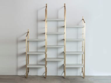 Open modular brass bookcase STEP
