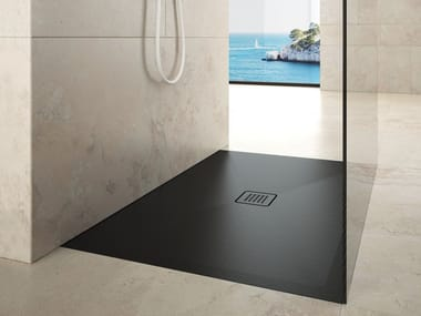 Flush fitting rectangular ceramic shower tray STEP