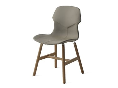 Upholstered leather chair with removable cover STEREO WOOD IMBOTTITA FRONTE/RETRO