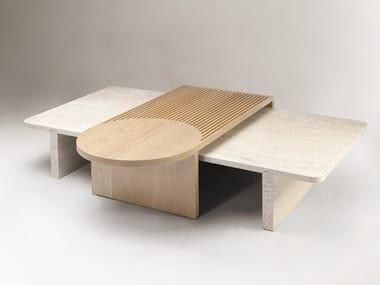 Low rectangular travertine coffee table STICK & STONE