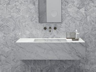 Rectangular wall-mounted marble washbasin STILETTO