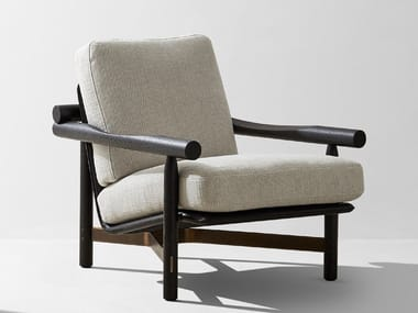 Wooden armchair with armrests STILT | Armchair