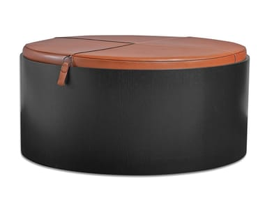 Wood pouf / coffee table with storage compartment STOLL