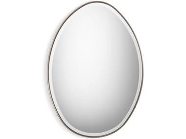 Oval wall-mounted framed iron mirror STONE