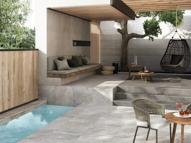 Porcelain stoneware outdoor floor tiles with stone effect STOORM T20