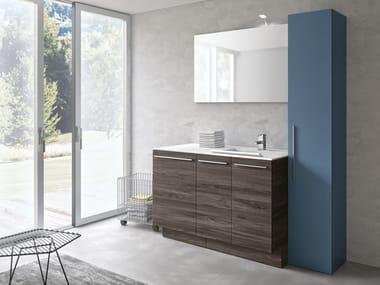 Mobile lavanderia a colonna in derivati del legno con ante a battente con lavatoio STORE 411