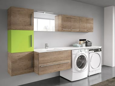 Wall-mounted laundry room cabinet with sink STORE 412