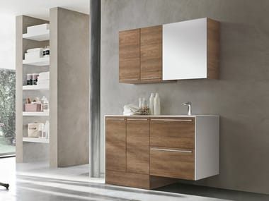 Mobile lavanderia in derivati del legno con ante a battente con cassetti con lavatoio STORE 413