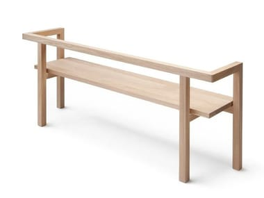 Oak bench with back STORIA
