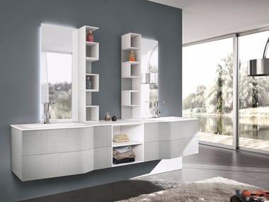 Mobile lavabo doppio sospeso con specchio STR8 ALDANY