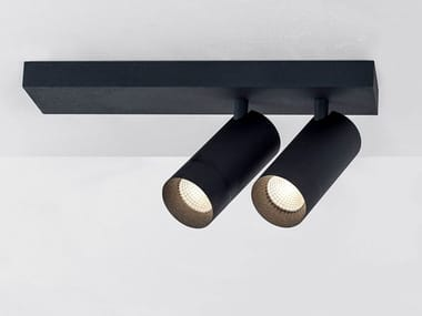 LED adjustable powder coated aluminium ceiling lamp STRAIGHT PLATE ON DOUBLE