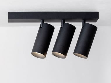 LED adjustable powder coated aluminium ceiling lamp STRAIGHT PLATE ON TRIPLE