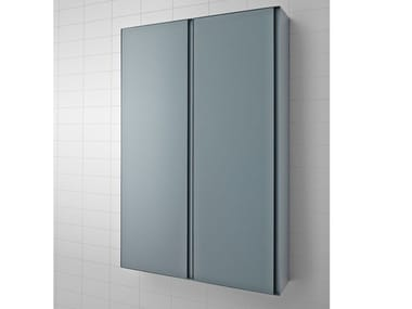 Tall suspended metal bathroom cabinet with doors STRATO | Double bathroom cabinet