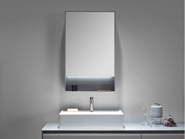 Metal bathroom mirror with cabinet with integrated lighting STRATO | Mirror with cabinet