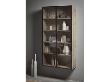 Mueble de baño suspendido en madera y vidrio con puertas STRATO | Mueble de baño en madera y vidrio
