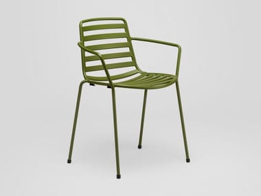 Steel garden chair with armrests STREET | Chair with armrests