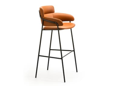 Contemporary style high stool with armrests with footrest STRIKE ST | Leather stool