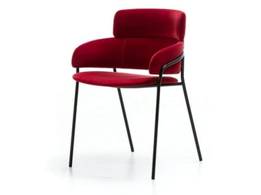 Upholstered fabric chair with armrests STRIKE