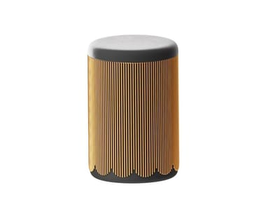 Upholstered round metal pouf STRINGS | Pouf