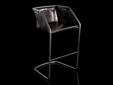 Stool with metal frame and leather cover STRIP | Stool