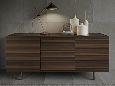 Eucalyptus sideboard with doors STRIPE | Sideboard with doors