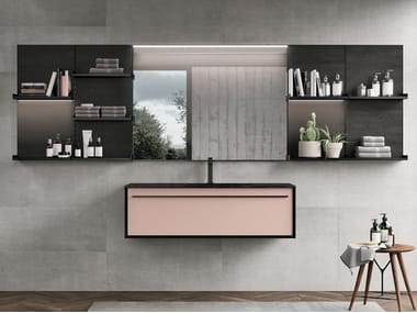 Wall-mounted vanity unit with drawers SUITE 02