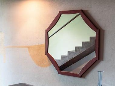 Framed wall-mounted oak mirror SUNFLOWER