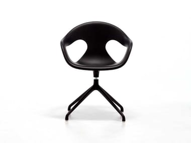 Contemporary style metal chair with 5-spoke base with armrests with integrated cushion SUNNY PLASTIC SP | Swivel chair