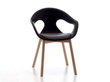 Restaurant chair with armrests SUNNY  PLASTIC 4WL