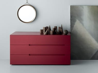 Lacquered wood veneer chest of drawers SUNSET   Chest of drawers