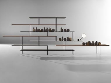 Open freestanding double-sided aluminium and wood bookcase SUPER_POSITION | Aluminium and wood bookcase