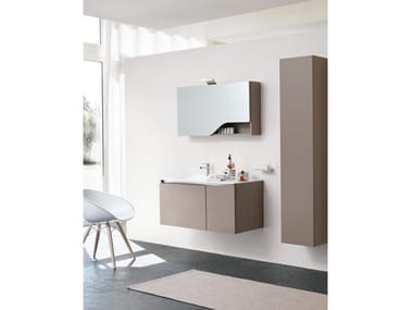 Wall-mounted vanity unit with mirror SWING 05