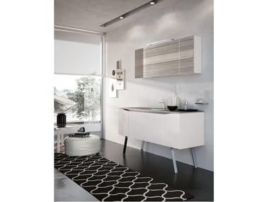 Floor-standing vanity unit with mirror SWING 06