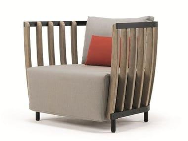 Teak garden armchair with armrests SWING | Garden armchair