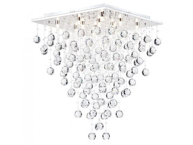 Metal ceiling lamp with crystals SWIRL